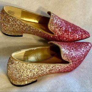 Sparkly pink & gold loafers with pointy toes